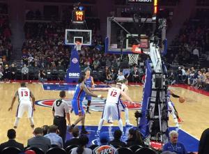 CO Lipka took this photo from the seats he won for the Detroit Pistons v. Oklahoma City Thunder game.