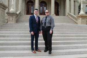 Rep. Tom Barrett, left, and Corrections Officer Lorraine Emery. Barrett invited Emery to the Michigan House of Representatives 9/11 Memorial Ceremony today honoring first responders.
