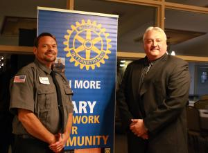 MTU CO of the Year Scott Wymer with MCO President Tom Tylutki at the Ionia Rotary event Oct. 18.