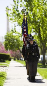 Over 300 attended the unveiling and dedication of the Fallen Officers Memorial, Sunday, May 7, 2017, in front of the MCO headquarters in Lansing. [Photo courtesy of www.MessageMakers.com]