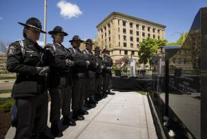 Over 300 attended the unveiling and dedication of the Fallen Officers Memorial, Sunday, May 7, 2017, in front of the MCO headquarters in Lansing. [Photo courtesy of MessageMakers]